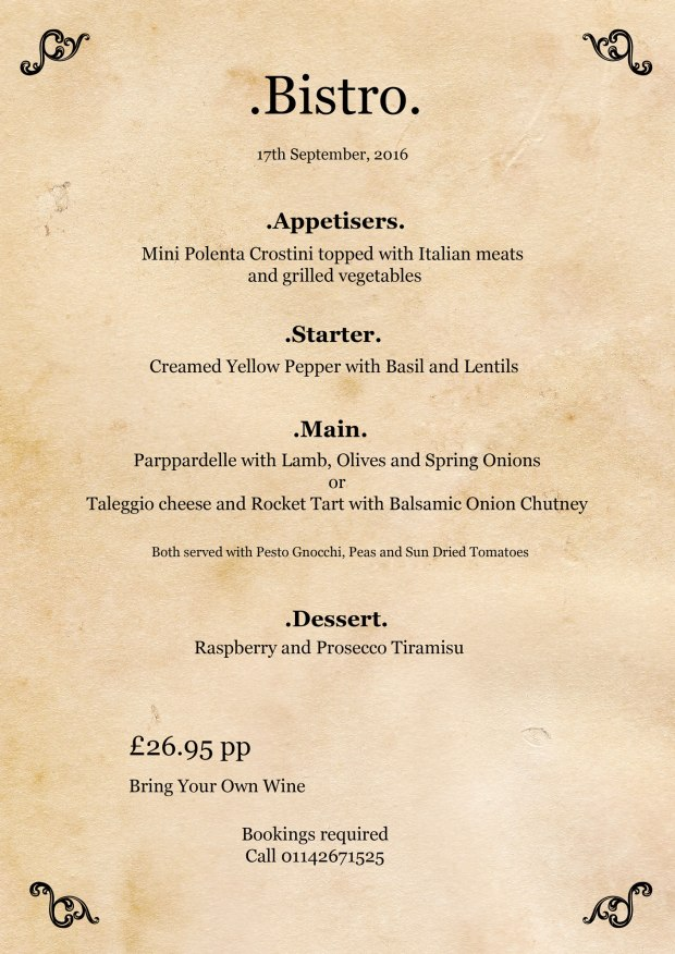 Remo's Cafe Sheffield Bistro menu September 2016